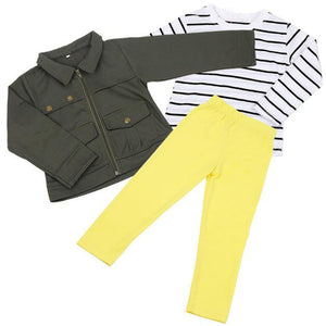 Girls Warm Long Sleeve T-Shirt Tops+Coat+Pants Outfit