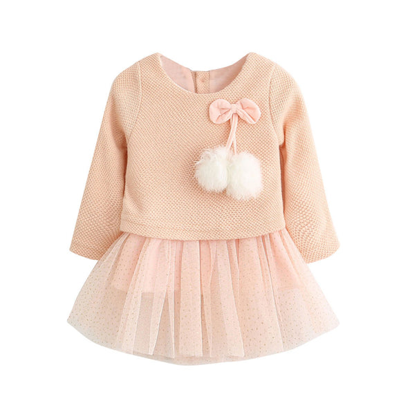 Baby Girl's Long Sleeve Knitted Bow Newborn Tutu Princess Dress