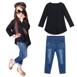 Girls Long Sleeve T-shirt Tops+Jeans Set