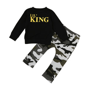 Boy's Letter T shirt Tops+Camouflage Pants Outfit