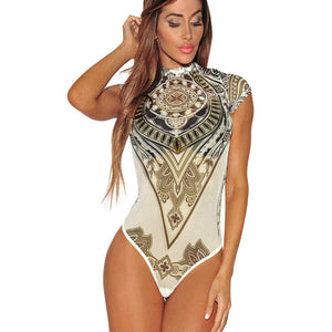 Print Voile Perspective Leotard