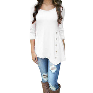 Long-Sleeve Loose Button Round-Neck Tunic T-Shirt