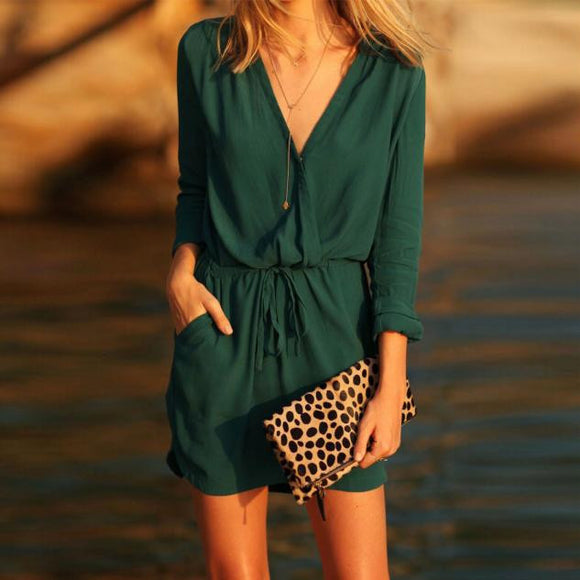 V-Neck Green Long-Sleeve Casual Summer Mini Dress