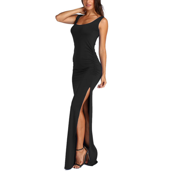 Sleeveless O-Neck Long Dress