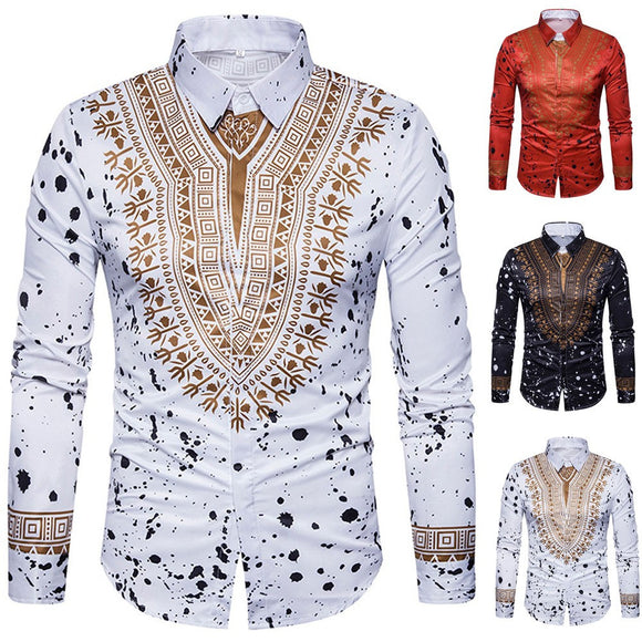 African Print Pullover Long-Sleeved Shirt