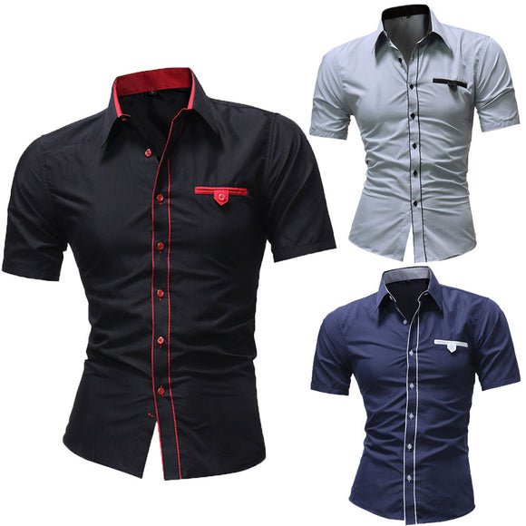 Solid Color Casual Short-Sleeve Shirt