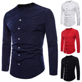 Slim Fit Cotton V-Neck Long-Sleeve Shirt