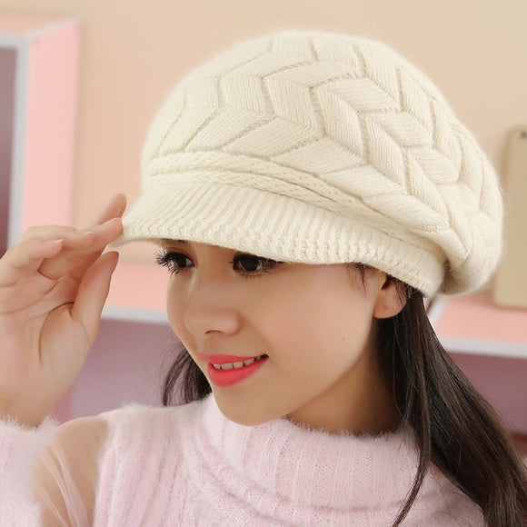 Winter Knit Cap With Visor
