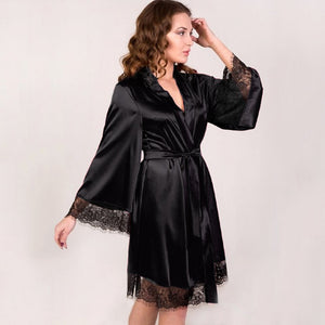 Lace-hem Nightdress/ Robe