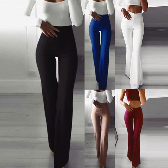 Solid Elastic Leggings Bell-bottoms Pants