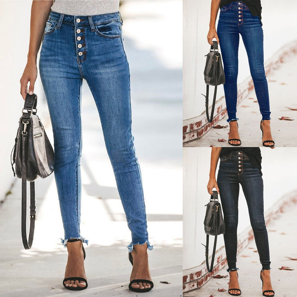 Women Hight Waisted Hole Button Denim Jeans Stretch Slim Pants  Length Jeans