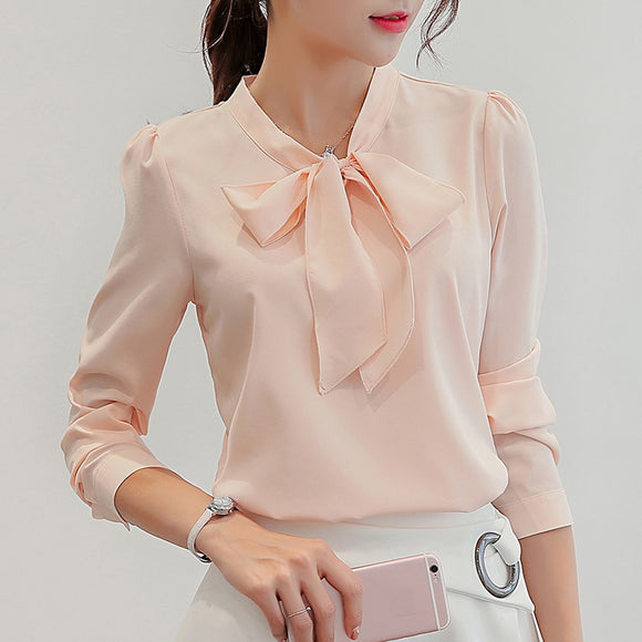Long-Sleeve Bow-Tie ButtonChiffon Blouse