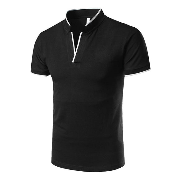 Standing Collar Short-sleeved Polo Shirt