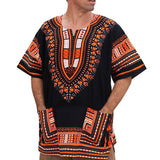 Men Summer Vintage African Print Short Sleeve Pockets O Neck Tops Shirt Blouses