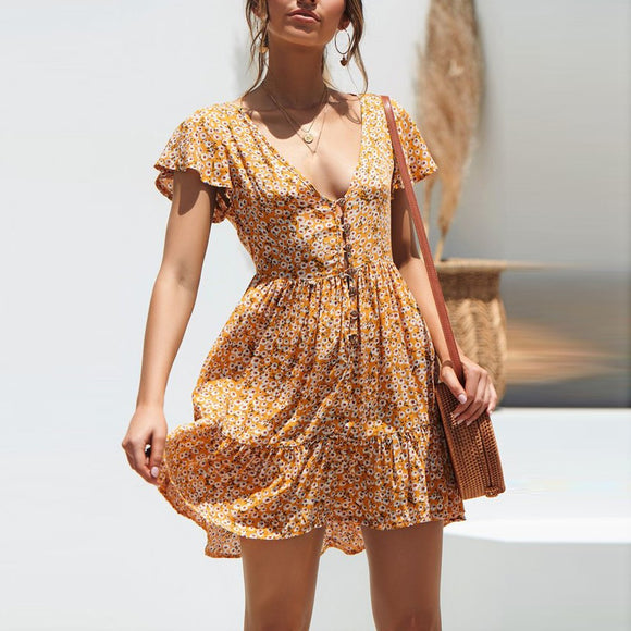 Boho Floral Summer Short Sundress