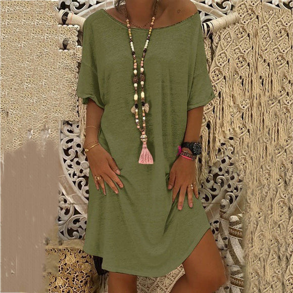 O-Neck Casual Solid Loose Dress