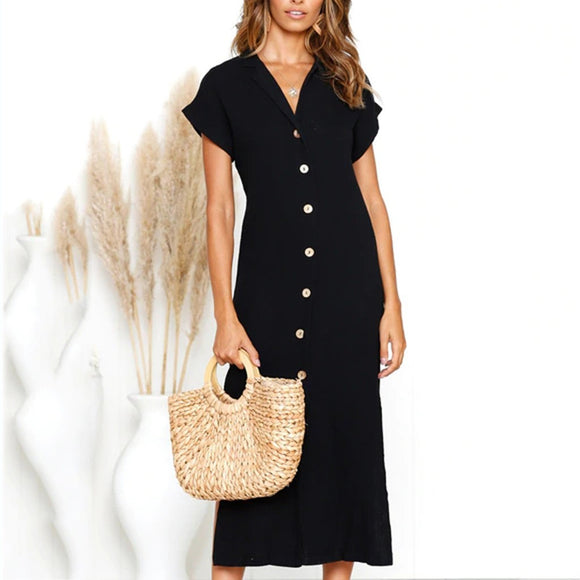 V-Neck Casual Solid Short-Sleeve Dress