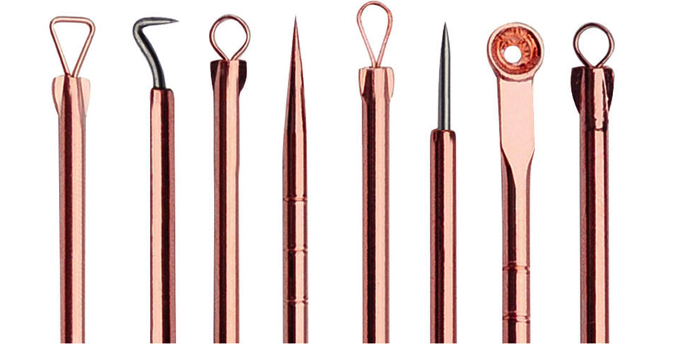 Rose gold blackhead extractor tools