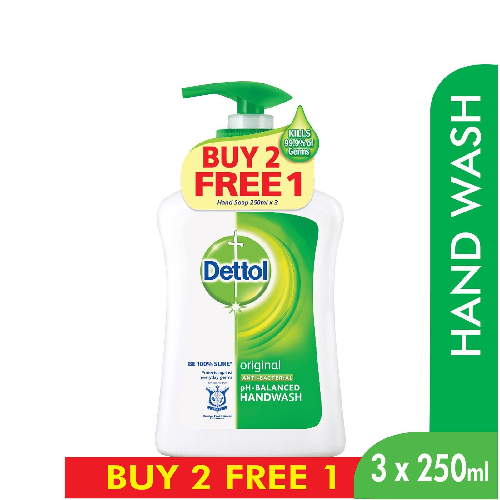 Dettol Original Anti-Bacterial Hand Wash Buy 2 Free 1 3 x 250 ml