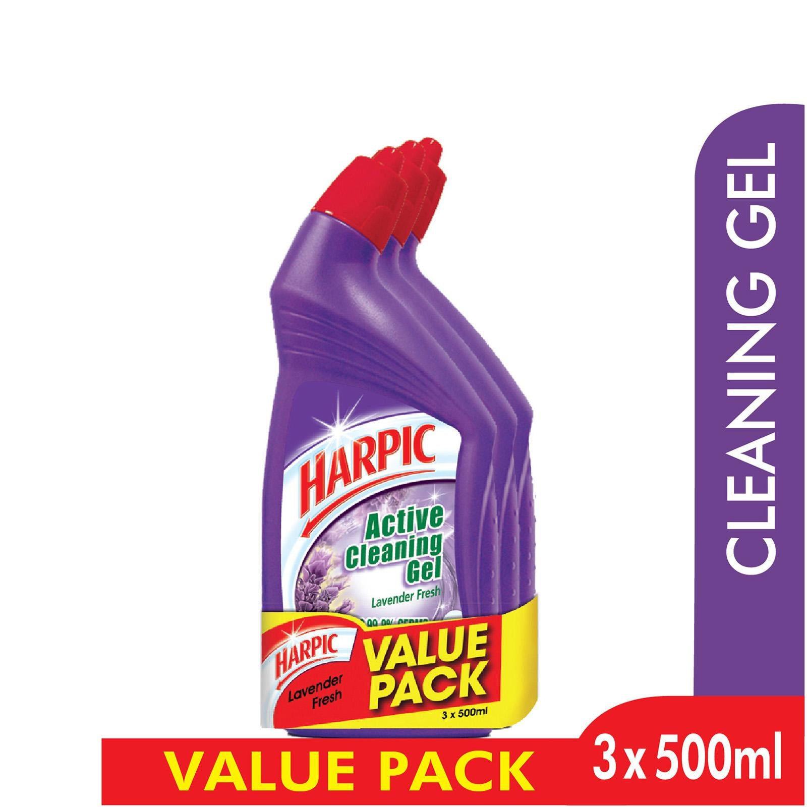 Harpic Active Cleaning Gel 3x500ml Lavender Fresh
