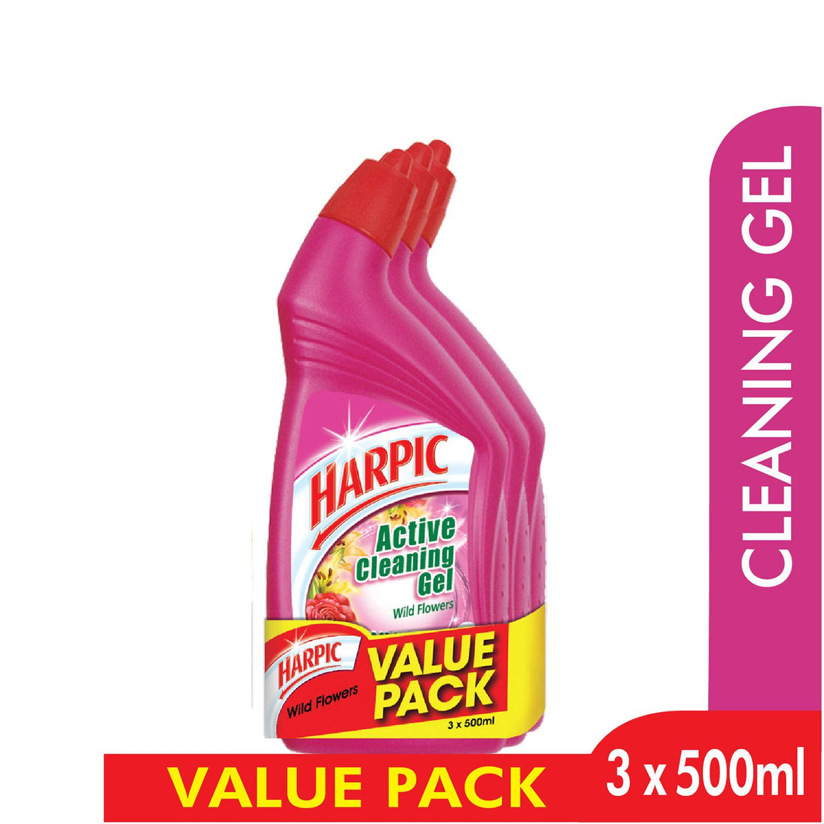 Harpic Active Cleaning Gel 3x500ml Wild Flower Provisionshop Com