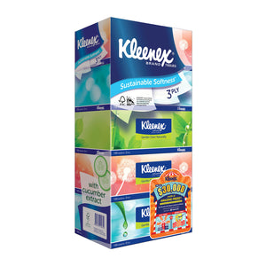 Kleenex ultra soft facial tissue natural 3-ply 5×100
