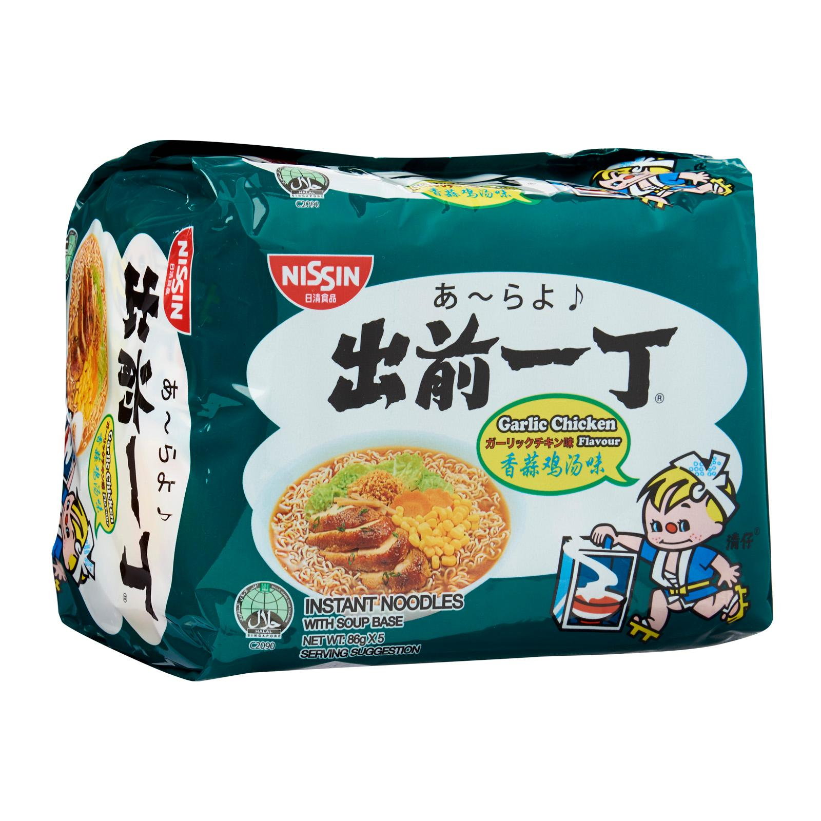 Nissin Chu Qian Yi Ding Garlic Chicken Instant Noodles With Soup Base 5 x 86 g