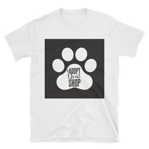 "Trendy short-Sleeve Unisex Women's/ Men's RHMF design pet animal rescue ""adopt don't shop"" t-shirt - spring/ summer/ gift"