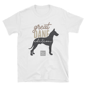 Trendy Short-Sleeve Unisex Women's rescue pet dog Great Dane design T-shirt- spring/ summer/ gift