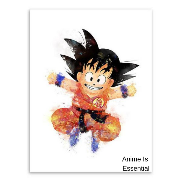 Kid Goku Water Colour Canvas Painting Poster
