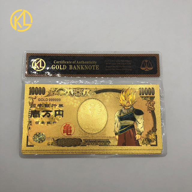 HOT 5pcs/10pcs/lot Japan Dragon Cartoon 10000 Yen Gold plastic Banknote for classic childhood memory  Collection