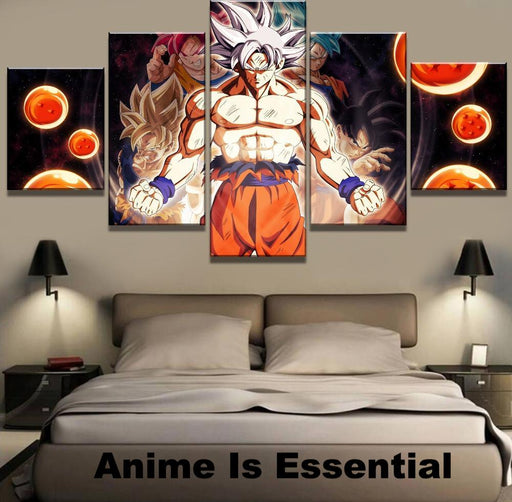 Goku's Evolution 5 piece Canvas art paintings with dragon balls