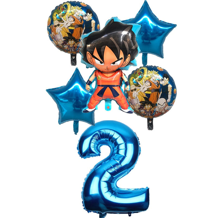 6pcs/set Cartoon 7 Dragon Ball Goku Foil Balloon 32inch Number Balloon Set Happy Birthday Party Decoration Kids Toy Campus Party