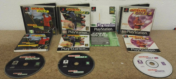 Actua Golf 1 - 3 Sony Playstation 1 (PS1) Game Bundle