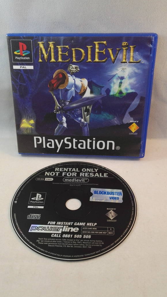 Medievil PS1 (Sony Playstation 1) Very Rare Blockbuster Ex-Rental version