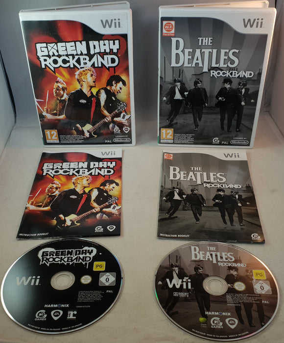Green Day & Beatles Rock Band Nintendo Wii Game Bundle