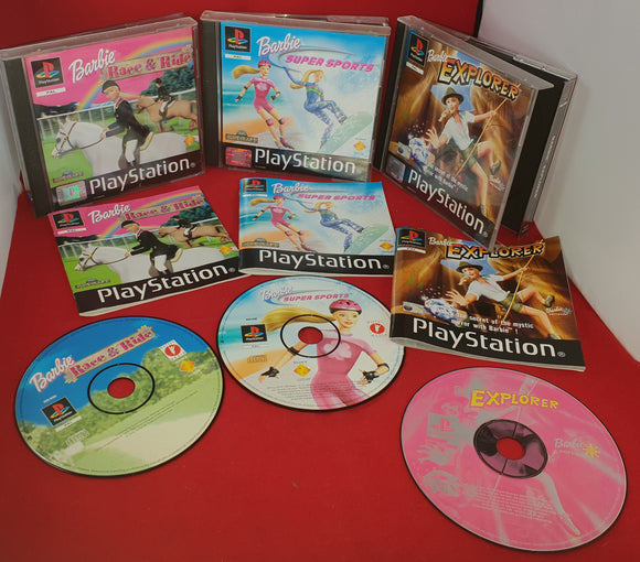 Barbie Race & Ride, Super Sports & Explorer Sony Playstation 1 (PS1) Game Bundle
