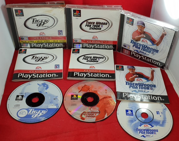 Tiger Woods PGA Tour Golf X 3 Sony Playstation 1 (PS1) Game Bundle