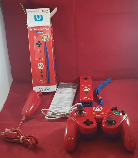 Official Nintendo Wii Mario Wii Remote Plus & Classic Controller with Unofficial Red Nunchuck Accessory
