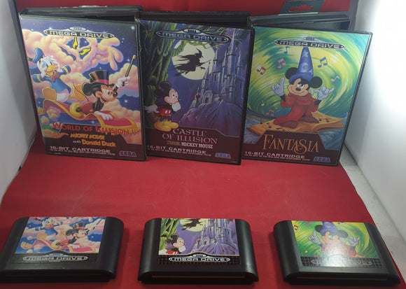 Fantasia, Castle of Illusion & World of Illusion Sega Mega Drive Game Bundle
