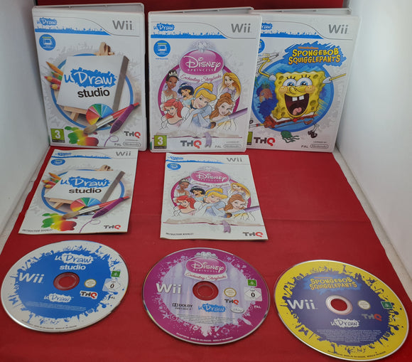 UDraw Studio, Disney Enchanting Storybooks & Spongebob Nintendo Wii Game Bundle