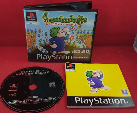Lemmings & Oh No! More Lemmings in RARE Ex Rental Case Sony Playstation 1 (PS1) Game