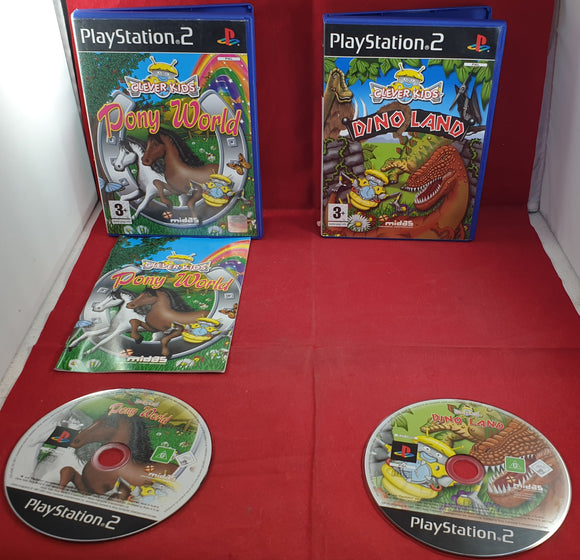 Clever Kids Pony World & Dino Land Sony Playstation 2 (PS2) Game Bundle