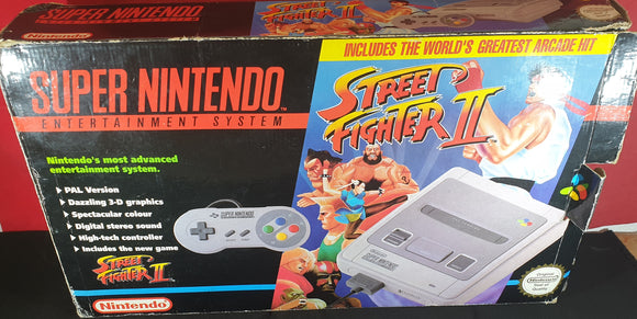 Boxed Super Nintendo Entertainment System (SNES) Console with Street Fighter II Cartridge