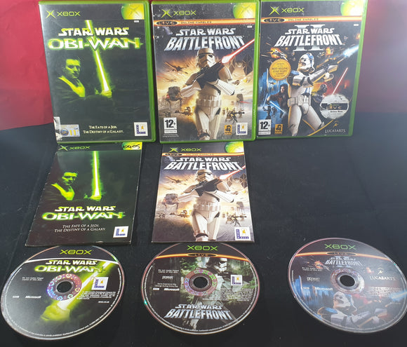 Star Wars Battlefront 1, 2 & Obi-Wan Microsoft Xbox Game Bundle