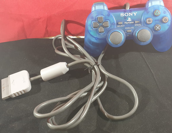 Crystal Blue Official Sony Playstation 1 (PS1) Made in Korea Dual Shock Controller Accessory
