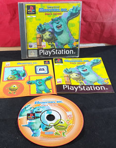 Monsters Inc Scare Island Black Label with RARE Stickers Sony Playstation 1 (PS1) Game