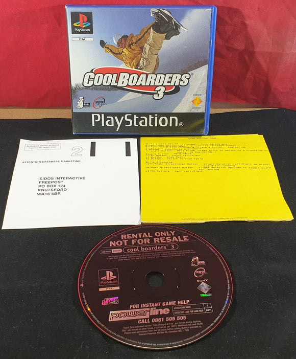 Cool Boarders 3 RARE Ex Rental Version Sony Playstation 1 (PS1) Game