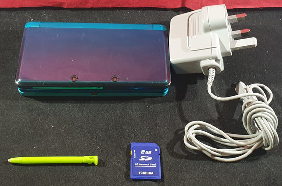 Turquoise Nintendo 3DS with Stylus, Official Charger & 2 GB SD Card Console