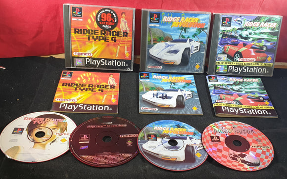 Ridge Racer 1, Type 4 & Revolution Sony Playstation 1 (PS1) Game Bundle